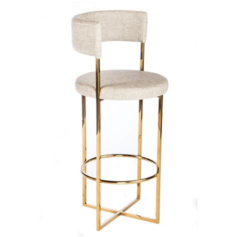 Gold And White Stool by Carrie Gold Linen Curved Bar Stool