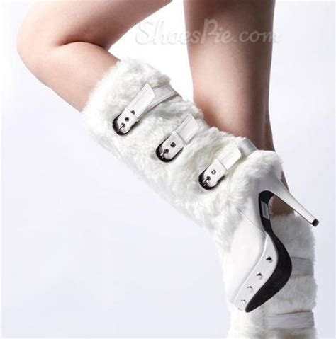 gorgeous white fur high heels boots shoespie