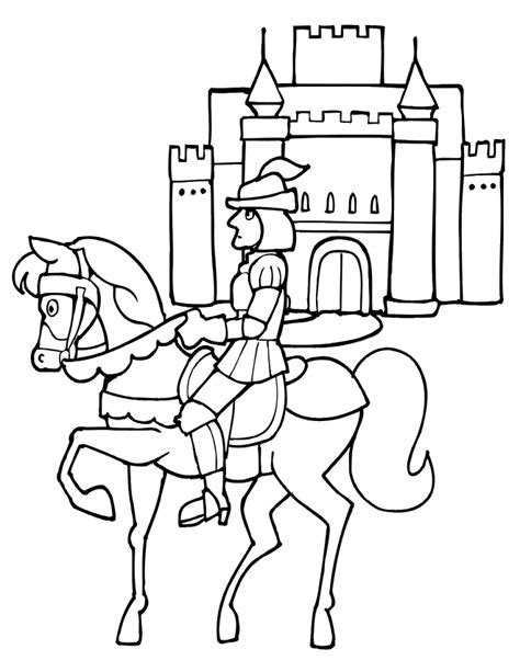 coloring pages of knights and horses and coloring page in front of castle