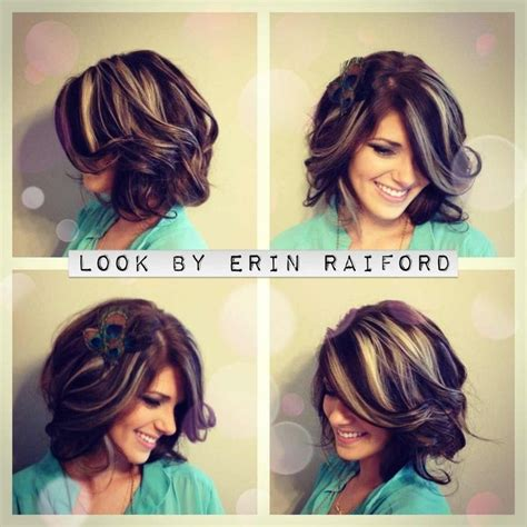 short hairstyles with chunky colors chunky highlights medium length bob wavey curls short