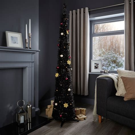 bq pop up christmas trees 6ft pop up black pre lit pre decorated tree departments diy at b q