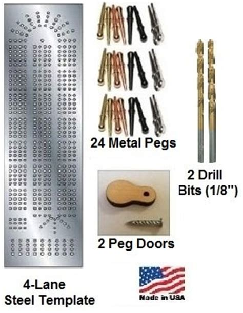 metal cribbage board template and kit