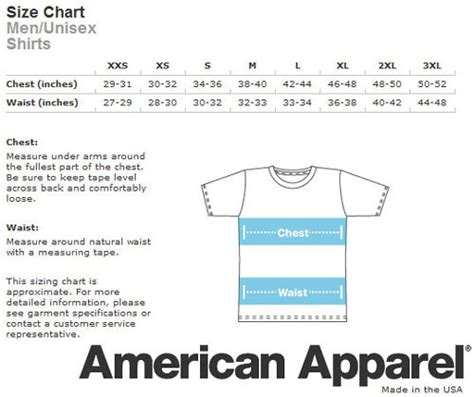 american apparel size chart american apparel sizing chart size charts books and