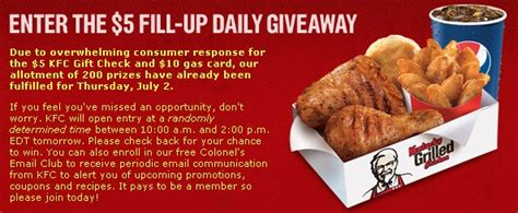 Kfc Gift Card Balance - kfc gift card 5 fill up daily giveaway cash in your gift cards