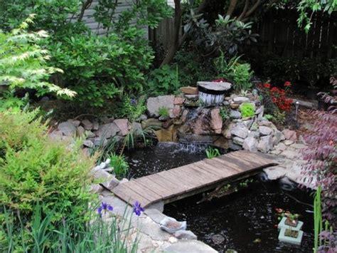 inspirative garden pond  bridge