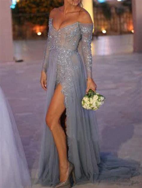 Bag Fashion S019 Blue prom dress gray prom dress lace prom dress