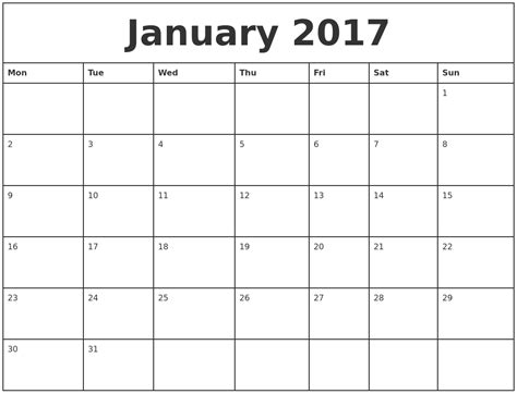 printable monthly calendar starting monday january 2017 printable monthly calendar