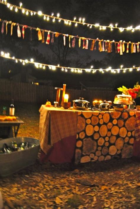 fall backyard party ideas fall bonfire bonfires and string lights on pinterest