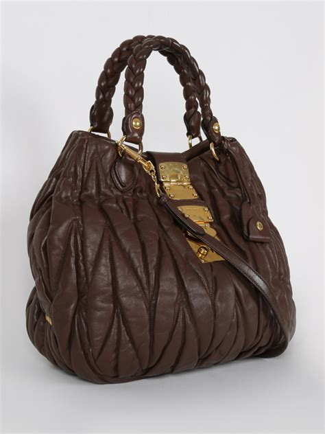 Miu Miu Brown miu miu coffer matelass 233 pleated shoulder bag brown