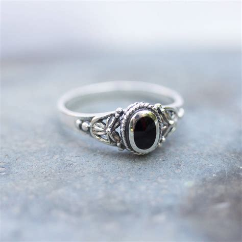 detailed black onyx sterling silver ring by regalrose