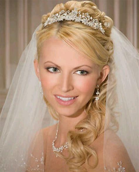 wedding hairstyles down with veil and tiara tiara veil hair wedding pinterest