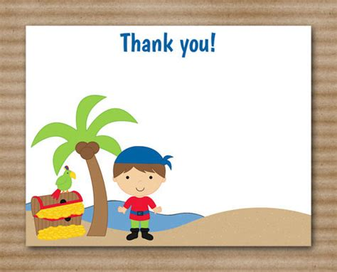printable birthday cards pirate printable pirate thank you cards boy ship by paperhousedesigns