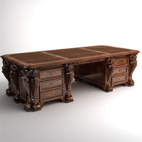 antique wood desk antique desk wooden 3d model