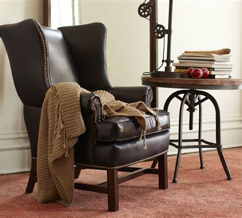 leather wingback armchair thatcher leather wingback chair black pottery barn