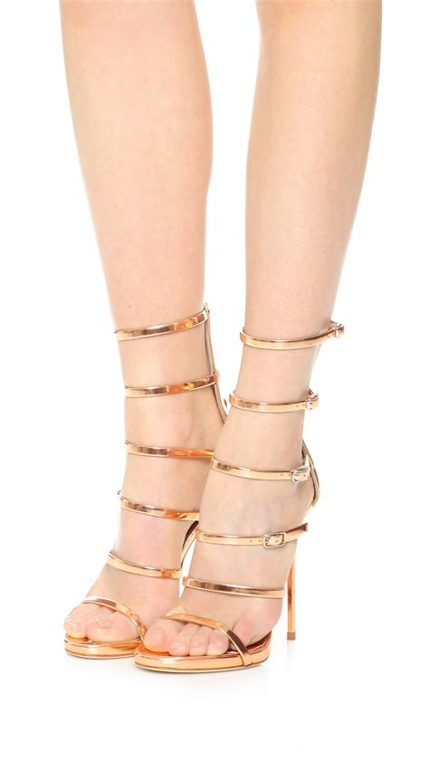 Giuseppe Zanotti Pink And Black Sandals by Lyst Giuseppe Zanotti Strappy Sandals In Pink