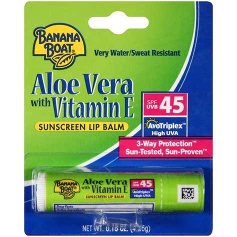 banana boat aloe vera sunscreen lip balm banana boat aloe vera with vitamin e spf 45 sunscreen lip