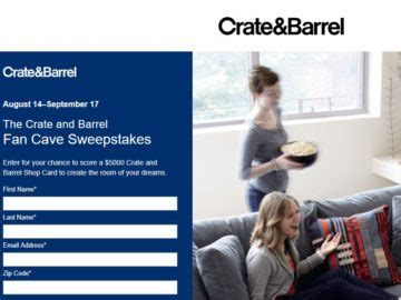 Crate And Barrel Sweepstakes - crate and barrel fan cave sweepstakes