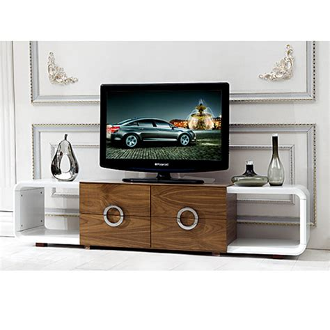 Living Room White Tv Stand Bn High Gloss White And Walnut Coffee Table And Tv Stand