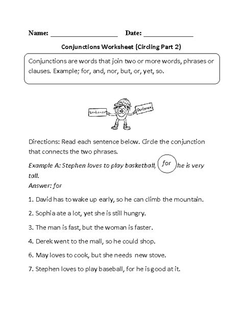 Language Worksheets For 5th Grade by 20 Best Images Of Free Conjunction Worksheets Grade