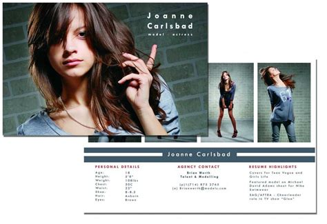 free model comp card template psd comp card