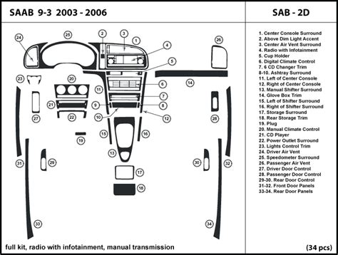motor repair manual 2003 saab 42133 transmission control saab 9 3 2003 2006 radio w infotainment manual transmission dash kit trim sab2d ebay