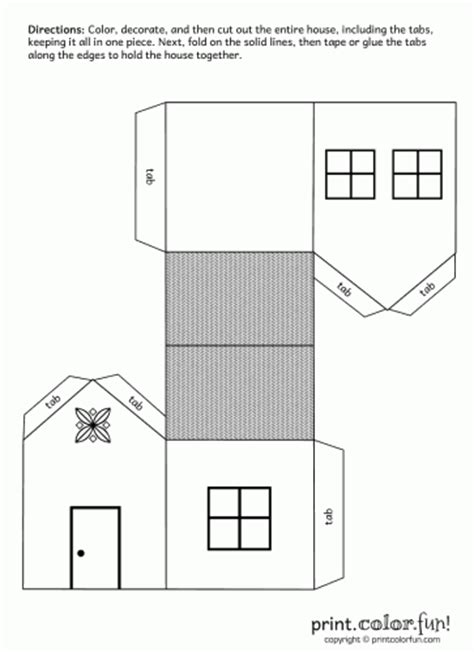 print out paper crafts house cutout craft coloring page print color