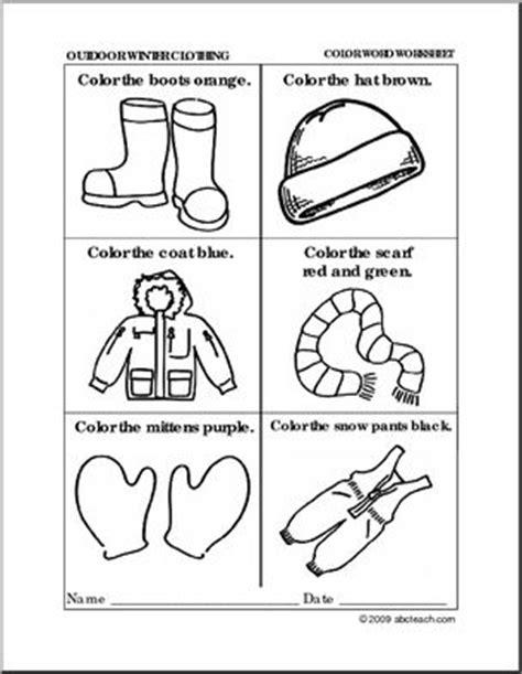 worksheet winter clothing coloring preschool primary b