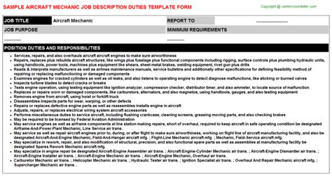 Aircraft Mechanic Description by Auto Technician Description 14 Mechanic Resume Sle Service Mechanical Sles Junior Call