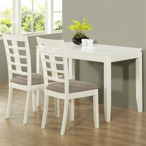 pearl white veneer 3pc space saver table set