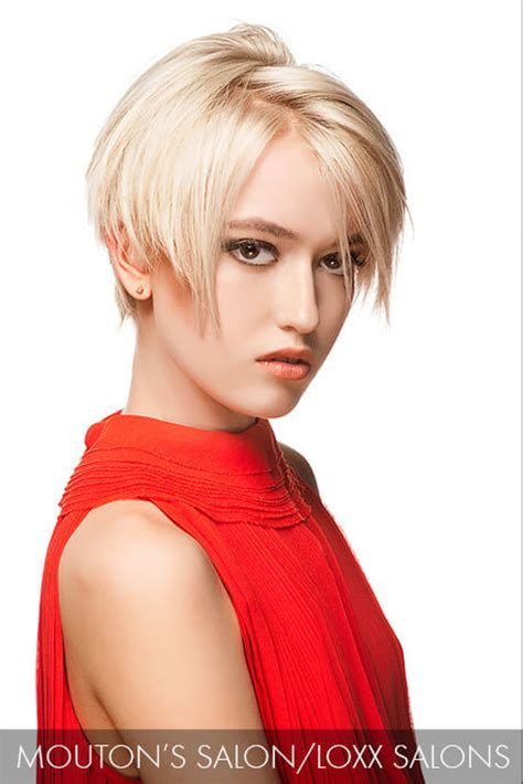 precession haircut precision cut bangs fall across the brow and graze this