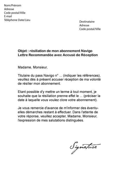 Exemple De Lettre Demande De Badge Modele Resiliation Navigo Document