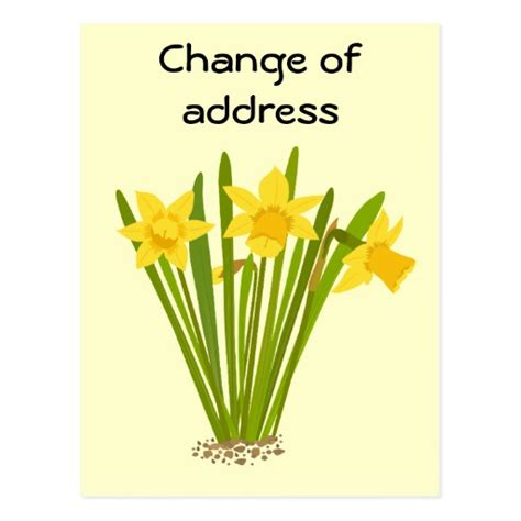 change of address cards templates daffodils change of address postcard template zazzle