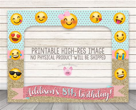 christmas emoji photoframe printable emoji birthday photo booth frame glitter emoji photobooth frame happy barn