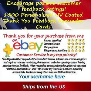 1000 Uv Gloss Ebay Seller Custom 5 Star Dsr Reminder Thank You Business Cards Ebay Ebay Payment Reminder Template