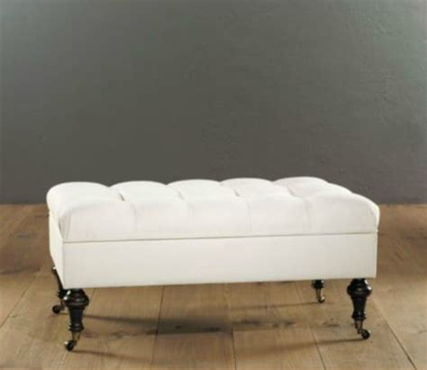 Castered Tufted Storage Ottoman Contemporary Storage Ottoman Bench Bedroom