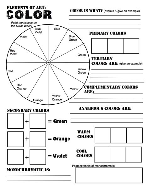 color quiz color wheel worksheet teach art pinterest