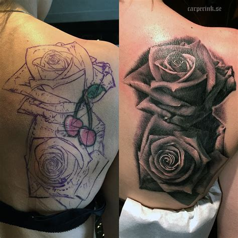 how to cover up a rose tattoo tatueringar carper ink tatuerare malin carper