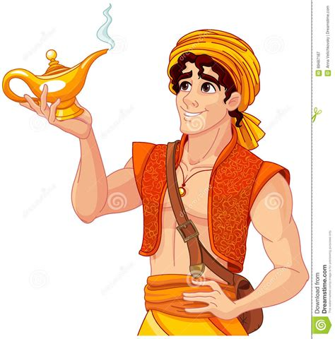 aladdin and the magic l aladdin and the wonderful l stock vector illustration
