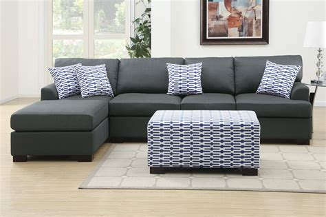 Black Fabric Sectional Sofa With Chaise Poundex Camille F7990 Black Fabric Chaise Lounge A