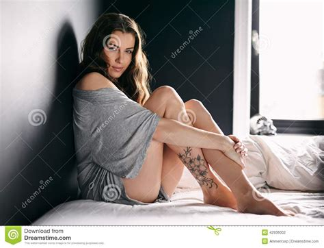 woman in bed attractive female model on bed stock photo image 42936002