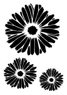 Stencil 3 Flowers m 248 nstre tmt on silhouette store flower