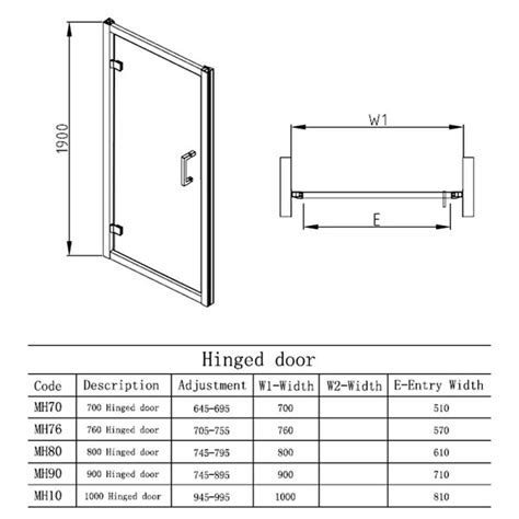 Shower Door Measurements Hudson Reed Apex Easyfit Hinged Shower Door Mh70