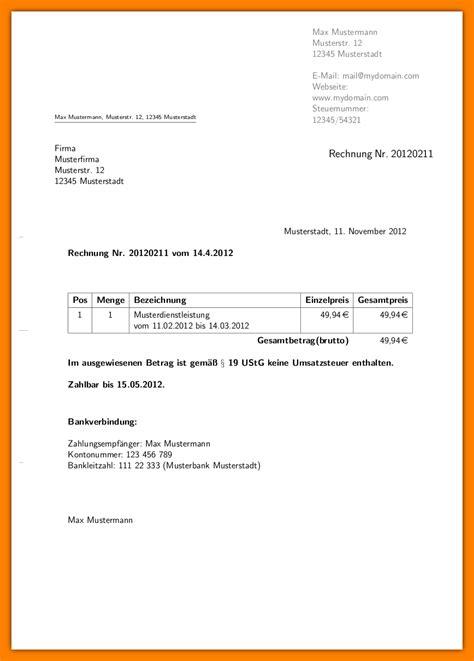 Vorlage Rechnung Freiberufler Word 11 privat rechnung schreiben vorlage sponsorshipletterr