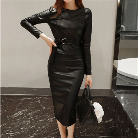 Annbaby 8 H Skirt Rok Korea 2016 autumn winter korean sleeve blouse pencil skirt two leather set s