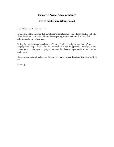 Sle Letter Announcing New Employee To Employees New Employee Announcement Letter This Sle New