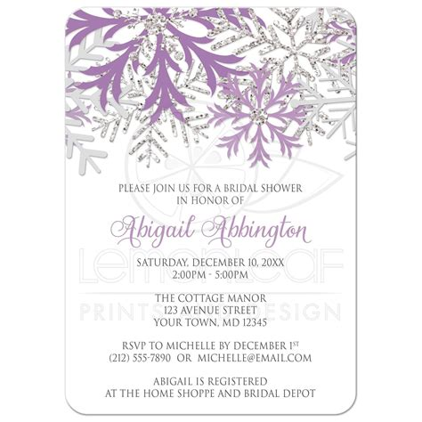 silver and white bridal shower invitations bridal shower invitations winter snowflake purple silver