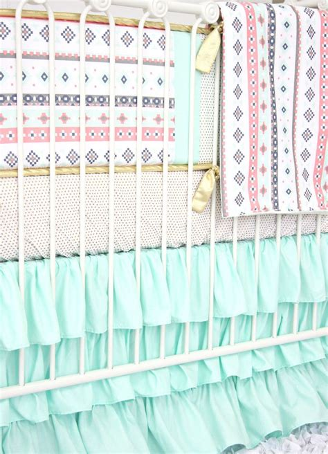 tribal baby bedding trinity s tribal baby bedding mint pink aztec crib set