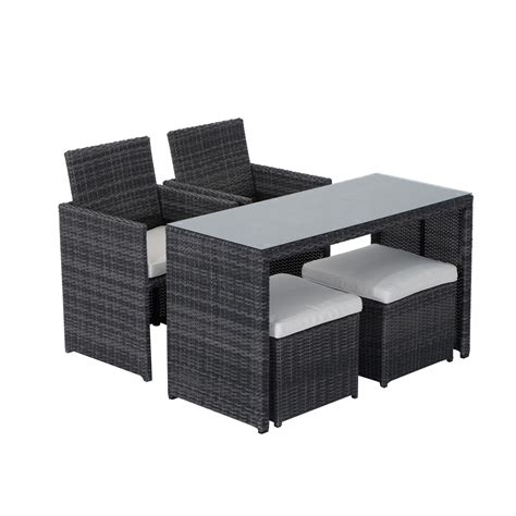Patio Chair With Ottoman Set Outsunny 5pc Rattan Wicker Dining Set Outdoor Sofa Table Ottoman Set Space Saving Patio