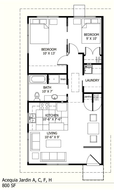 800 Sq Ft Acequia Jardin Small House Plan Map