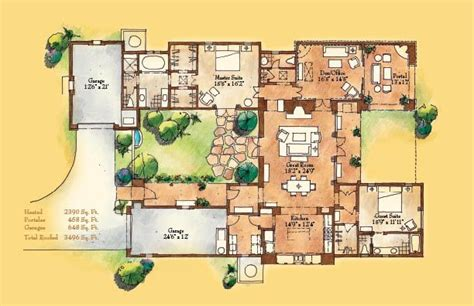Santa Fe Style House Plans by Adobe Style Home With Courtyard Santa Fe Style Meets